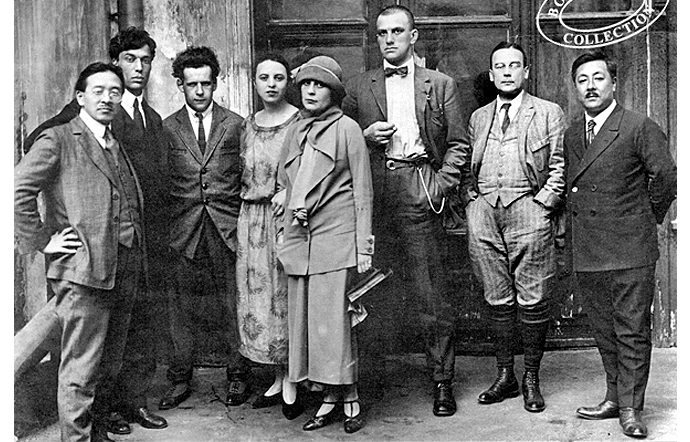 Mayakovsky (third from right) with friends including Lili Brik, Sergei Eisenstein (third from left) and Boris Pasternak (second from left).