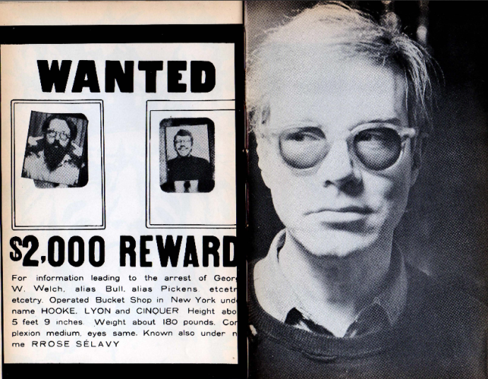 """Wanted -- $2,000 Reward by Joe Brainard, photograph by A. Malgmo"" (A. Malgmo is not an actual person but some kind of pun-name that Ted, Ron, and Tom Veitch used to use) and on the right: ""Photograph of Andy Warhol by Lorenz Gude"" // citation info: Kulchur 19, Autumn 1965"