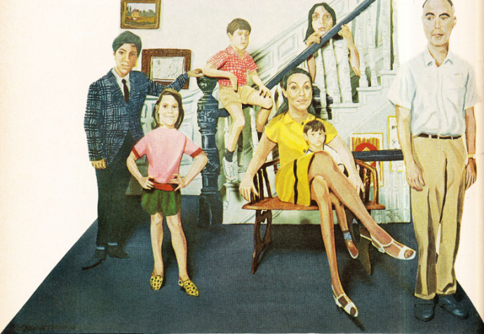 "Painting by Red Grooms titled ""The Levinson Family."""