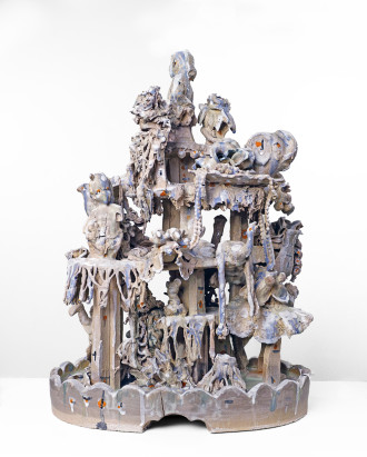 """Big Candy,"" Stoneware,  found ceramic tchotchkes, silk flowers and dollies, glaze, silica sand, enamel, platinum luster. 2014."