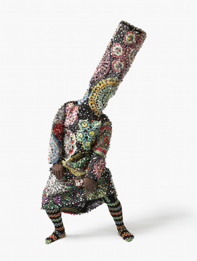 Nick Cave (American, born 1959), Soundsuit, 2009 fabric, with appliquéd crochet and buttons, knitted yarn, metal armature, mannequin, Collection of the Birmingham Museum of Art; Museum purchase with funds provided by the Collectors Circle for Contemporary Art 2010.80; © Nick Cave. Photo by James Prinz Photography. Courtesy of the artist and Jack Shainman Gallery, New York.