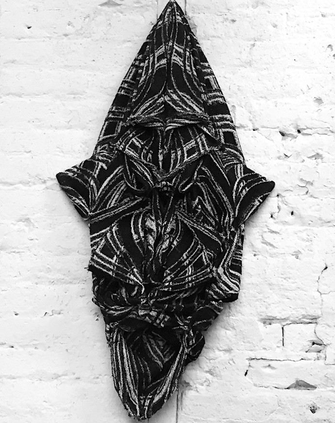 black and white textile wall sculpture by Brooklyn artist David Smith; photo: erica lewis
